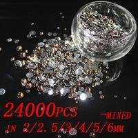 24000pcs mixed sizes 2mm 2.5mm 3mm 4mm 5mm 6mm  Resin rhinestones flatback Free shipping