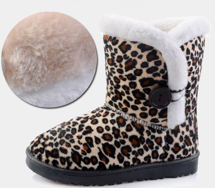 spedizione gratuita bambino nuova moda ragazze leopardo stivali da neve per bambini caldo invernali femminile scarpe per bambini calzature cotone vendita calda
