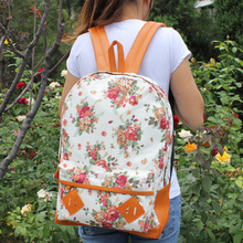 Free shipping canvas Flower Backpack Bag Women Campus Rucksack Girls School Casual Knapsack bag Double Shoulder Handbag(China (Mainland))