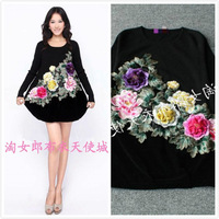 National 2013 trend embroidery flower knitted wool loose plus size sweater dress