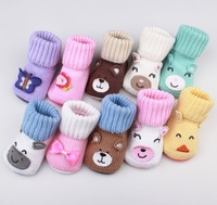 Cute Cartoon Baby Socks Animal Knitting Slipper Shoes Newborn to 6 Month Autumn Winter Infant Gift Drop Shipping Free Shipping