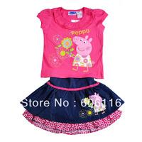 2014 Hot sale! Kids Suit, Baby girl 2pcs peppa pig set with a T-shirt + denim skirt, Children wear suit, 5sets/lot-WYX-FT-71