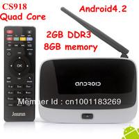(CS918)Android 4.2 TV Box RK3188 Quad Core Mini PC RJ-45 USB  XBMC Smart TV Media Player with Remote Controller Free shipping