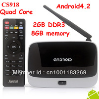 (CS918)Android 4.2 TV Box RK3188 Quad Core Mini PC RJ-45 USB  XBMC Smart TV Media Player with Remote Controller Free shipping