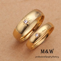 9$ Free Shipping! Promotion! R2501 High Quality Gold Plated Fashion Simple Crystal Pure Love Ring for Lovers Women and Men