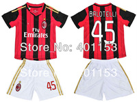 balotelli 45# ac milan home soccer football jersey kits for kids / children , custom name and number