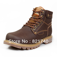 2013 Winter waterproof nubuck leather snow warm male cow muscle slip-resistant outsole casual male winter boots Flats SJ9181
