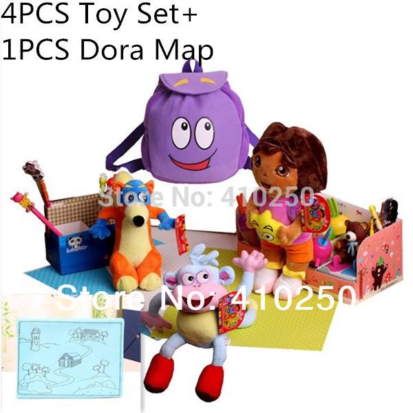 4 PCS / Dora brinquedos Set + 1 PCS Dora mapa Dora the Explorer boneca para crianças meninas botas o macaco Swiper Fox Plush Dora mochila(China (Mainland))