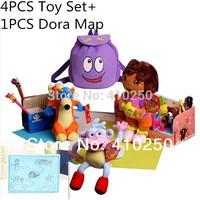 4PCS/ Dora Toys Set + 1PCS Dora Map Dora the Explorer Dora Doll for Kids Girls Boots the Monkey Swiper Fox Plush Dora Backpack