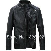 2014 high quality Fashion men's leather  slim fit leather jackets for men outdoor jacket mens leather blazer XXXL men