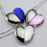 Jewelry Heart Shape USB Pen Drive,Crystal Heart USB Memory Disk,Crystal USB Disk 8G/16G/32G