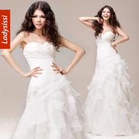 LADYSISSI 2014 Real Sample Fashionable Brief Slim Handmade Beads Bridal Veil Organza Wedding Dress Mermaid bridal gown plus size