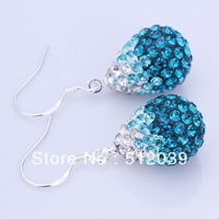 8 Colors Wholesale Silver 925 Shamballa Czech Drilling Sapphire Blue Heart Earrings SilverJewelry Gradual Color Christmas Gift