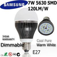 6pcs/lot  7w led light bulb  lamp E27 85-265V110v 220v 240v SAMSUNG SMD 120lm/w  dimmable+ indimmable 3year warranty