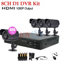 8 Channel cctv Security camera with DVR Recorder System 4 camera 480TVL Camera Kit 8ch D1 dvr video surveillance system