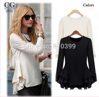 New Fashion 2014 Long Sleeve Chiffon Patchwork Women's Casual T-Shirts T Shirts Black/Beige Large Size S~XL Freeshipping#CGTS004