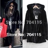 Quality mink fur long-sleeve medium-long outerwear