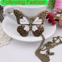 2013 New Retro Butterfly Pendant Necklace for Women European Vintage Sterling Bronze Pendant New