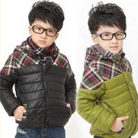 New Kids children boy winter coat single breasted casual kids wadded jacket plaid hoody stripe patckwork baby winter outerwear