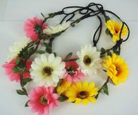 10PCS  New Wedding Flower Elastic Headband Hair Band Garland Hair Wreaths SP-619