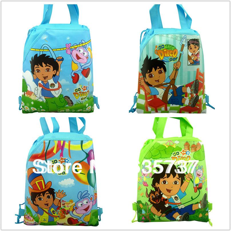 12Pcs Diego children school bags Cartoon Drawstring Backpack,mochila, Party gift shoulder bags bookbag printing backpack(China (Mainland))