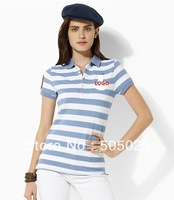 Support drop-shipping Ladies embroidery LOGO horse five buckle cotton short-sleeved polo shirt turn-down collar striped