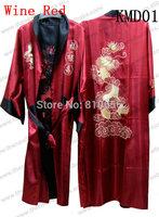 Fast Free Shipping 2013 Chinese Silk Satin mens black dragon kimono robe S M L XL XXL XXXL MOQ 1pc