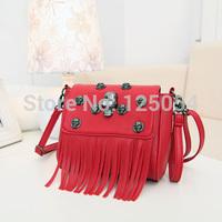 2014 brand women's tassel chain shoulder bag  bucket bag black handbag vintage messenger bag gift for women free shipping