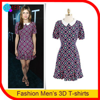 2013 Women's Flower Printed Knee-length Dress Short Sleeve Pleated Designer Brand Casual Dress