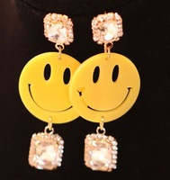Min.order is $15(mix order) women jewelry necklace yellow cartoon smiley  earrings big earrings for women 2013