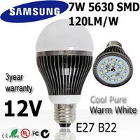 Super Quatiny 4pcs/lot 7w led light bulb lamp  E27 12V SAMSUNG SMD 120lm/w  3Years warranty :A62-7-2-12V