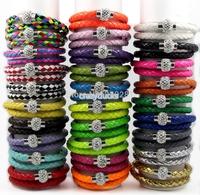 12pcs Retail Magnet PU Leather Bracelet Shamballa Leather Bracelets 40CM Double Ring