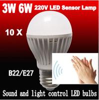 Free shipping10pcs/lot sound sensor Light LED bulb 3W 6W 220V230V240V motion sensor led light lamp E27/B22 Warm white/White