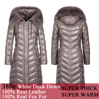 2014 Winter Super Thick & Warm Women's Fox Hair Fur Rim Hooded Genuine Leather Down Coat 380g Down Filling Leather Long Jacket