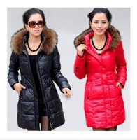 Free shipping 2013 female slim medium-long down coat hooded fur collar/women winter down jacket/outwear3Color,Size:MLXLXXL3XL4XL