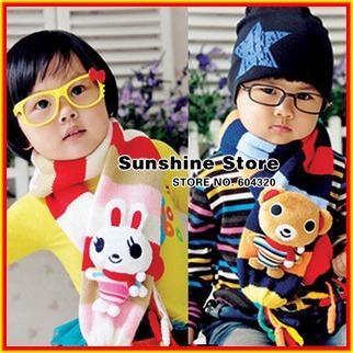 Rabbit mint girls scarf for childrens,Bear stripe animal Neck Warmer for kids,bufandas,boys gaiter #2D2514  5 pcs/lot (2 colors)