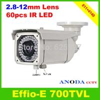 "1/3""Sony Effio-E 700TVL 4140+811 Manual zoom 2.8-12mm Lens 60Leds IR 50M Waterproof Outdoor Security CCTV Camera"