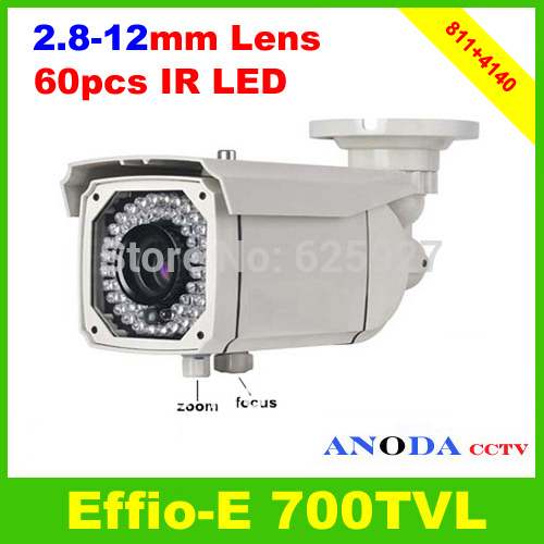 Sony Effio-E 700TVL 4140+811 Manual zoom 2.8-12mm Lens 60Leds IR 50M Waterproof Outdoor Security CCTV Camera(China (Mainland))