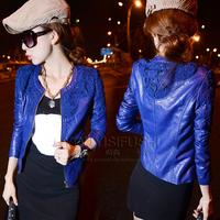 2014 fashion women leather jacket lace flower pattern short coat outwear winter autumn zipper slim fit solid color blue red