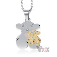 316 stainless steel bear  teddy pendants& necklaces jewelry double bear pendant jewelry wholesale