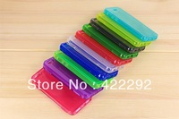 Free Shipping 10 Colors Double-sided Transparent Clamshell TPU Soft Silicone Protective Cover Back Case for iPhone 5