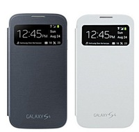 2pcs/lot Samsung Galaxy S4 S View Flip Cover Case, Dormancy Function, Touch Screen S-View Window, Automatic Power On/Off Display