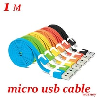 200pcs/lot* 1m/3FT *5 pin Micro USB Data Sync Charger Flat Cable Cord For HTC Samsung  s3 s4 Nokia