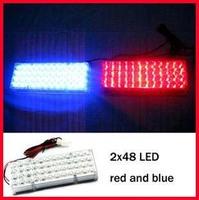 2 x 48 96 LED Car Flash Strobe Light 3 Flashing Modes Emergency Red+Blue/ red+white+blue