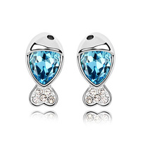 2013 new fashion style star charm crystal platinum plated lovely Dodo fish earring for ladies