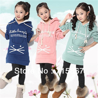 Hot selling girls winter  clothing  long  hooded top ,pink  blue,green clothes kids coat  fit for 2-7 years