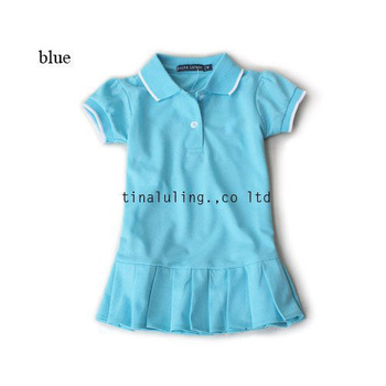 Free Shipping 2013 summe100% cotton baby polo dresses children girls Brand dresses baby Pleated tennis dress