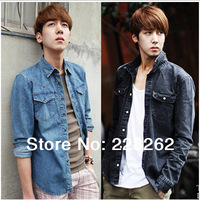 Free Shipping!! Jeans Shirt Men Fashion Camisa Masculina High Quality Long Sleeve Shirts Slim Fit Men Clothing