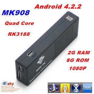 Bluetooth Quad Core MK908 RK3188 Android 4.2 MINI PC TV Stick 2GB RAM 8G ROM