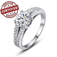 (1 pieces /women) White Gold Pl. ,100% Sterling Silver, Women's  Wedding  Engagement Ring